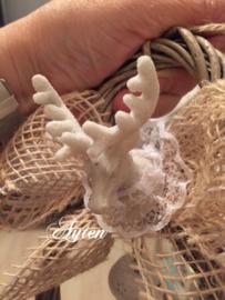 Kerst decoratie met elandkopje er op