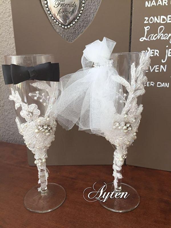 Wonderbaarlijk Champagneglazen voor de bruid & bruidegom   Bruiloft accessoires FJ-62
