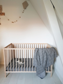 Toddler - Linen Flat Sheet 120 x 150 cm - Grey Leopard