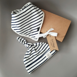 Pom Pom Bib & Knot Hat - gift set - Breton Stripes