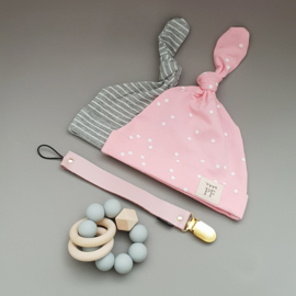 Knot Hats Set of 2 - Pink & Grey
