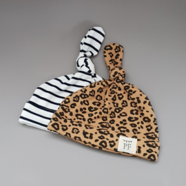 Knot Hats Set of 2 - Breton Stripes & Leopard