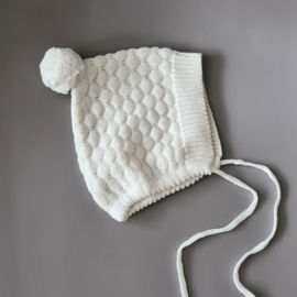 Knitted Bonnet - Cotton - Ivory