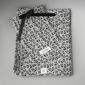 Toddler - Linen Flat Sheet 120 x 150 cm - Grey Leopard