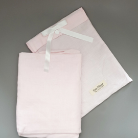 Toddler - Linen Fitted Sheet 60 x 120 cm - Light Pink