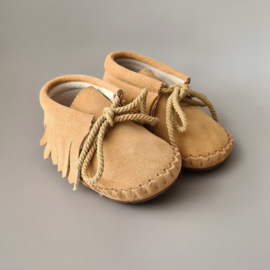 Baby - Suede Fringe Booties - Sand