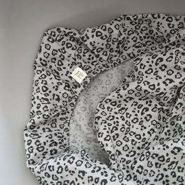 Toddler - Linen Fitted Sheet 60 x 120 cm - Grey Leopard