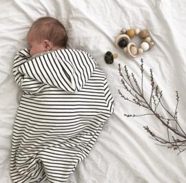 Cozy Hooded Wrap - Breton Stripes