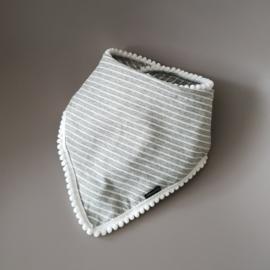 Pom Pom Bandana Bib - Grey