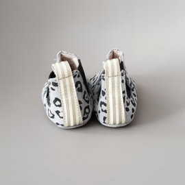 Baby - Chelsea Booties - Light Grey Leopard with gold/white detail