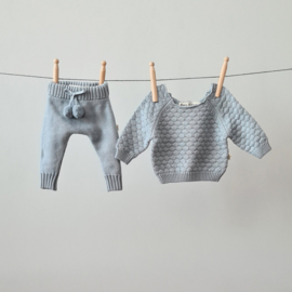 Knitted Pants - Cotton - Misty Blue