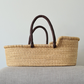Moses Basket - no. 02 - Neutral - Brown Handles
