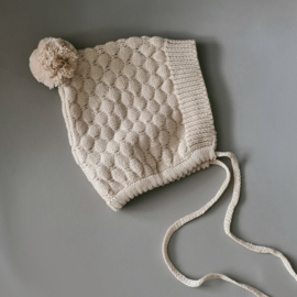 Knitted Bonnet - Cotton - Oatmeal