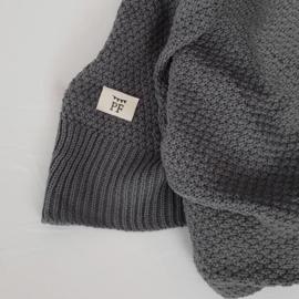 Knitted Blanket - Organic Cotton - Grey RESTOCK IN WEEK 35