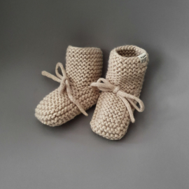 Baby - Knitted Booties - Oatmeal SOLD OUT