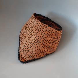 Pom Pom Bandana Bib - Brick Cheetah