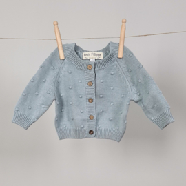Dotted Cardigan - Cotton - Misty Blue