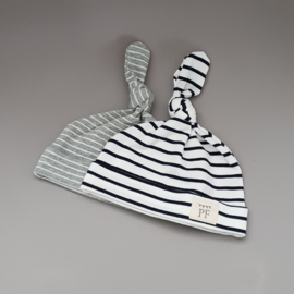 Knot Hats Set of 2 - Breton Stripes & Grey