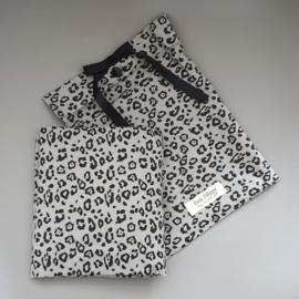 Toddler - Linen Fitted Sheet 60 x 120 cm - Grey Leopard