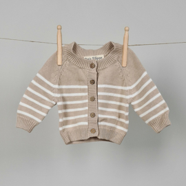 Striped Cardigan - Cotton - Oatmeal & Ivory