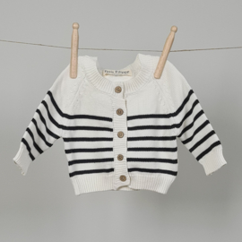 Striped Cardigan - Cotton - Ivory & Graphite
