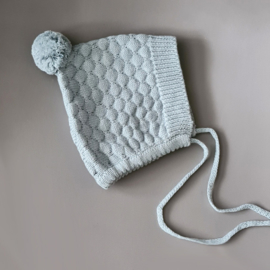 Knitted Bonnet - Cotton - Misty Blue