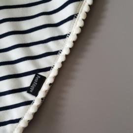 Pom Pom Bandana Bib - Breton Stripes