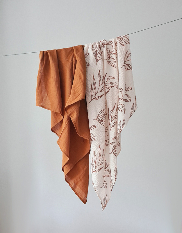 Muslin Swaddle XL - Set of 2 - Brick & Leaves