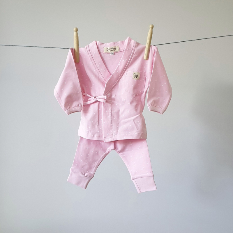 Baby - Lounge Wear Set - Pink & White Dots