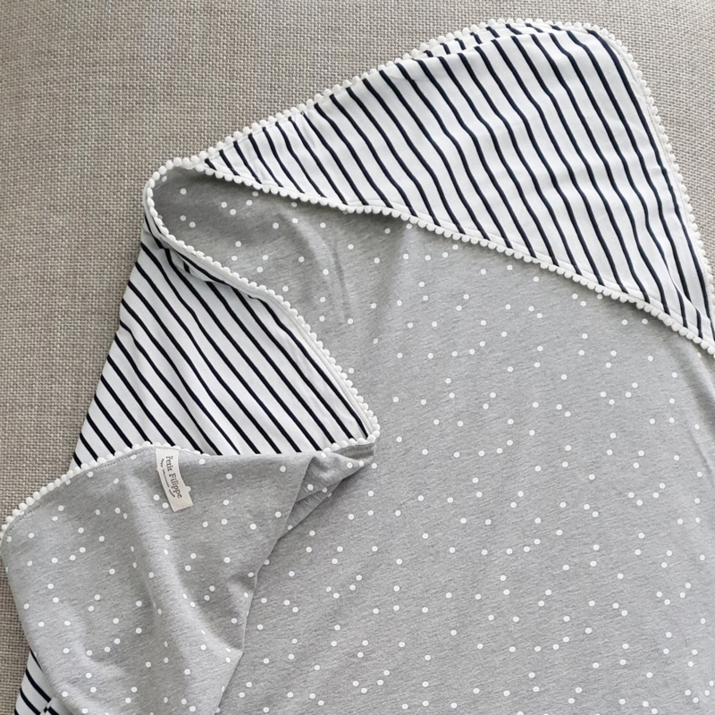 XL Baby Blanket - Breton Stripes & Grey
