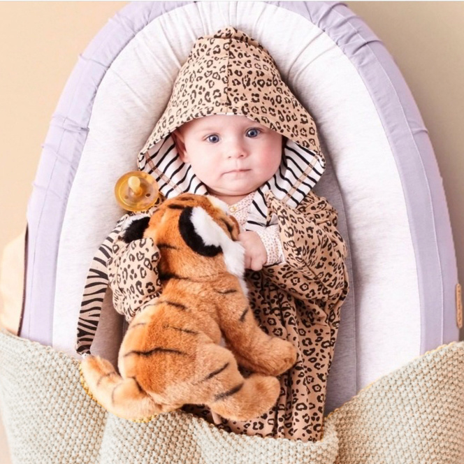 Cozy Hooded Wrap - Leopard & Black Stripes
