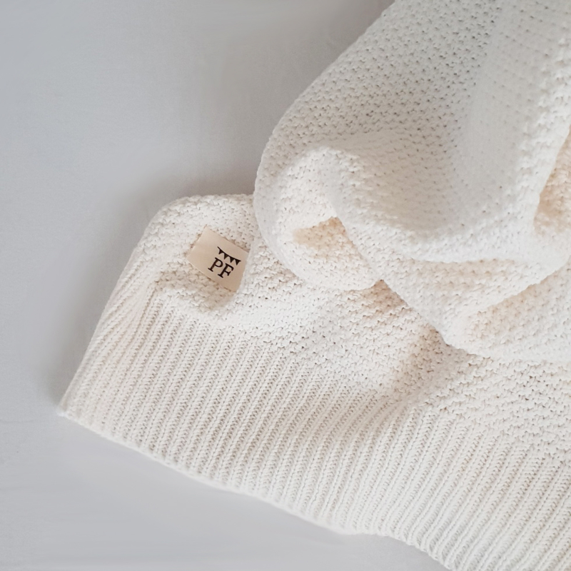 Knitted Blanket - Organic Cotton - White