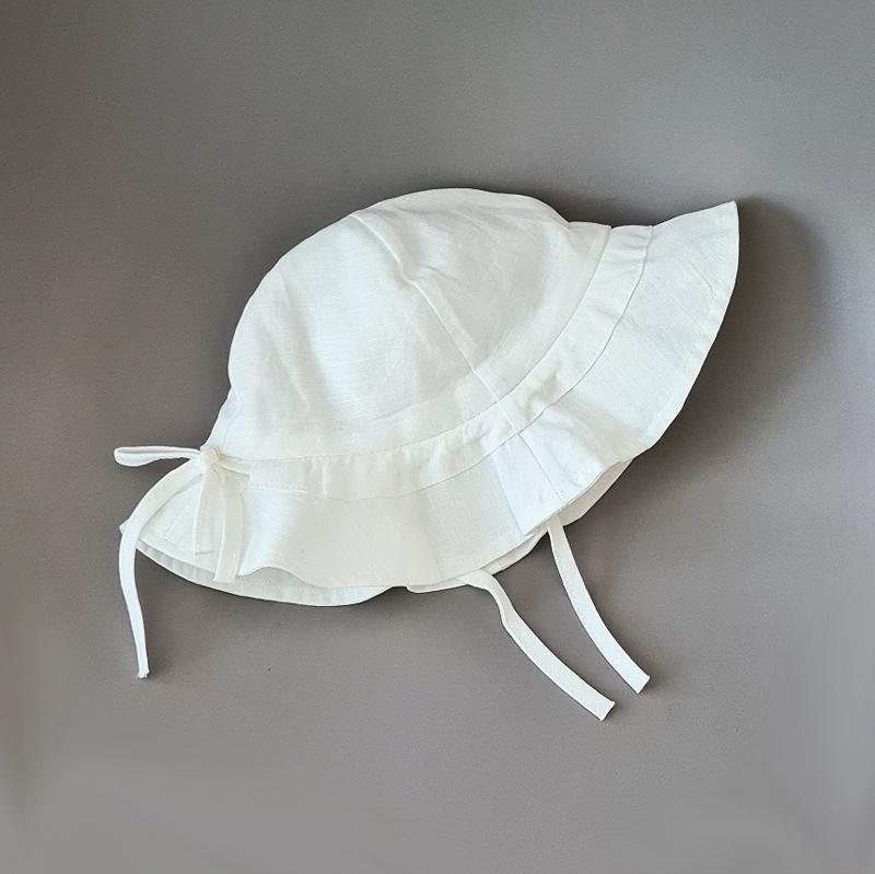 Linen Sun Hat - White