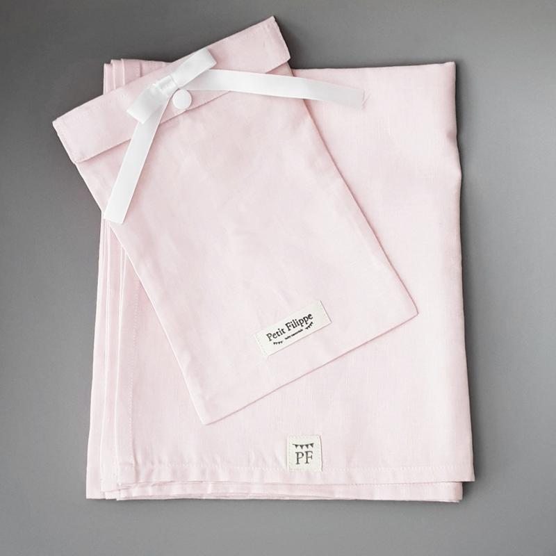 Toddler - Linnen Ledikantlaken - Light Pink