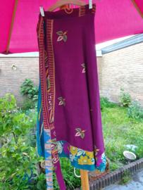 Wikkelrok paars/blauw bloemen