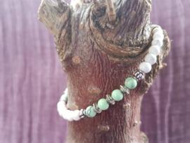 Armband witte en groene jaspis met Turkoois