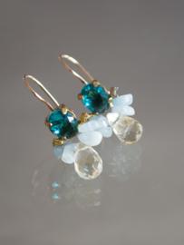 oorbellen Bee blauw kristal, aquamarijn