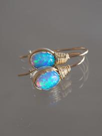 oorbellen Wire mini, blauw opaal