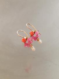 Oorbellen koraal, roze jade, parel