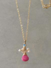 ketting Small Cluster parels en roze jade