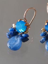Oorbellen bee blauw kristal, Lapis