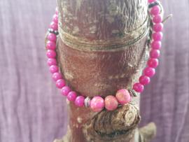 Armband roze jade met jaspis