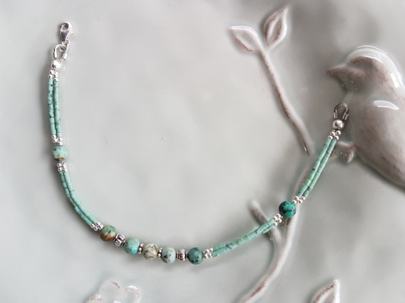 Armband turkoois met zilver