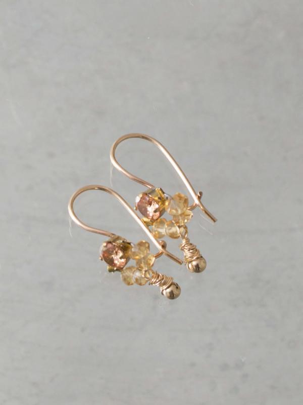 Oorbellen Dancer citrien en goudgele kristal