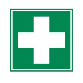Sticker groen-wit kruis 10 x 10 cm