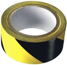Tape zwart/geel gestreept