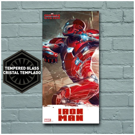 Marvel Civil War Iron Man Glass Poster 50x25 cm