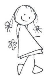 Decohartje meisje met bloem