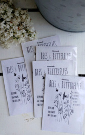 Sachet bloemenzaad Bees & Butterflies wit