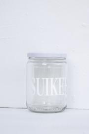 Glazen pot met deksel SUIKER wit